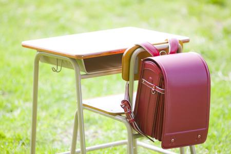 school desk: School desk  school bags
