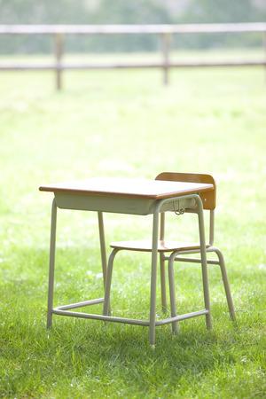 school desk: School desk Stock Photo