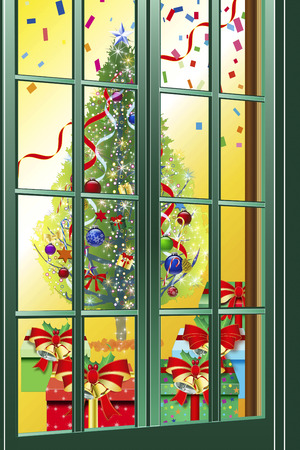 visible: Christmas that is visible through the window