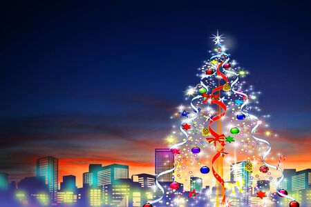 borrowed: Dusk of the city and Christmas tree