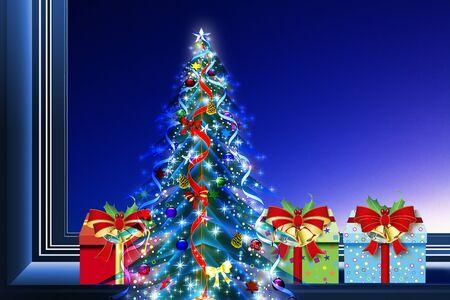 christmas tree presents: Christmas tree with presents Stock Photo