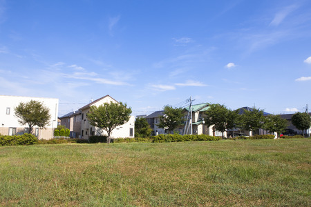 housing lot: Park and residential Stock Photo