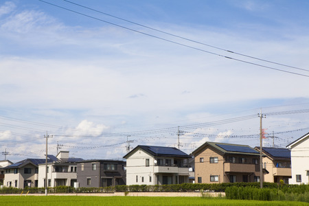 Residential area with solar panel