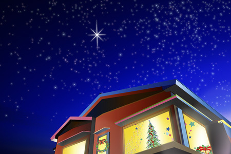 christmas house: House is decorated with Christmas tree