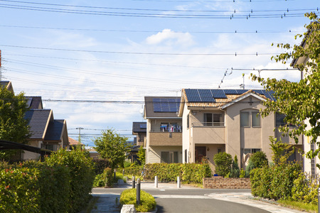 residential area: Residential area with solar panel