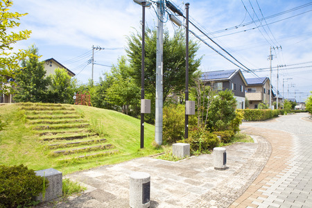 public address: Park in the residential area Stock Photo