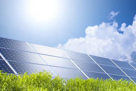 Blue sky and solar panels