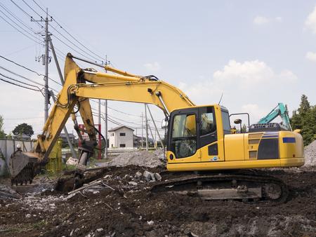power shovel: Demolition site Stock Photo