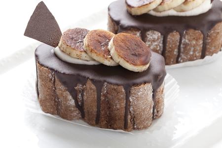 チョコレート バナナのケーキ 写真素材