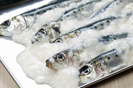 malted: Fish dishes using salt works Stock Photo