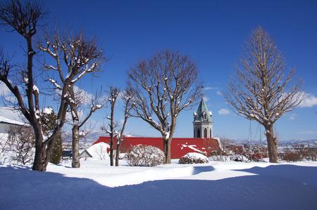winter scenery: Harisuto church winter scenery Stock Photo