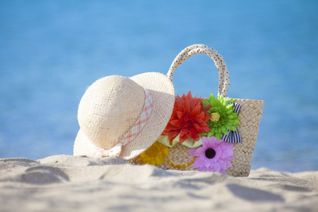 straw the hat: Straw hat and bag Stock Photo