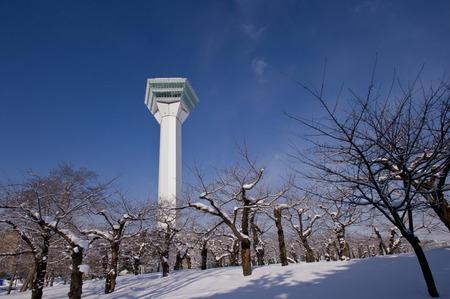 winter scenery: Tower Goryokaku of winter scenery