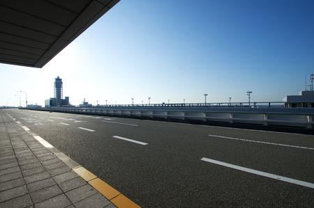 return trip: Pick-up road to Kansai Airport Stock Photo