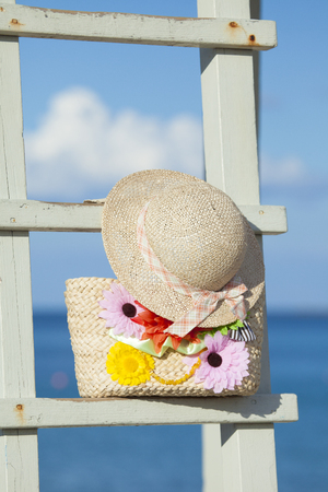 straw hat: Straw hat and bag Stock Photo