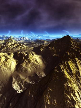 宇宙の惑星と雷雲 写真素材