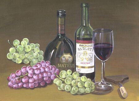 葡萄とワイン 写真素材
