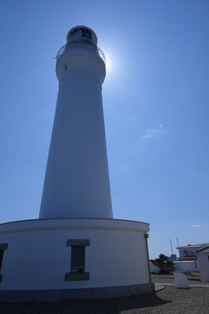 towering: Inubozaki lighthouse towering in the backlight Foto de archivo