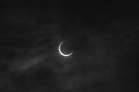 the natural phenomena: Eclipse 07:34:14 May was fully entered Stock Photo