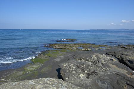 i hope: I hope Tokyo Bay from the rocky shore of haunts coast Stock Photo