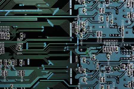 Back wiring of the printed circuit board which has digital coloring Stock Photo - 47817157