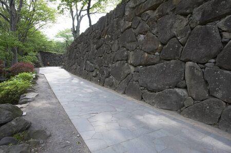 nostalgia: Ishigaki of the road leading from nostalgia park three gates