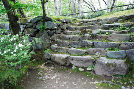 stone steps: Stone steps following the Komoro Castle  round