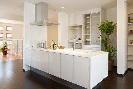 cuisine fond blanc: White kitchen Banque d'images