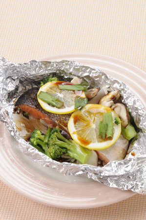 foil: Foil grilled salmon Stock Photo