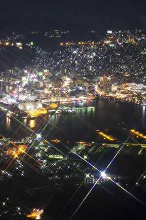 night view: Night view of Nagasaki Stock Photo