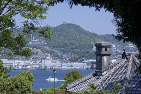 nagasaki: Nagasaki harbor from Glover Garden Stock Photo