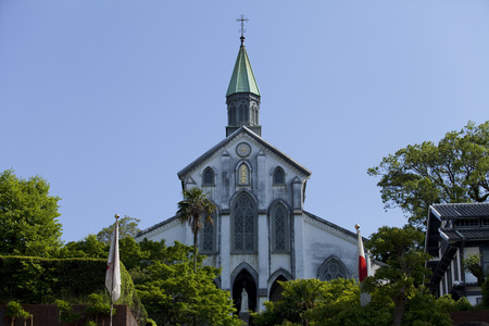 cultural artifacts: Oura Catholic Church of the fresh green Stock Photo