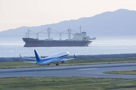 takeoff: Takeoff to passenger and cargo ship Stock Photo