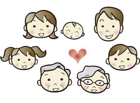 three generations: Family set face