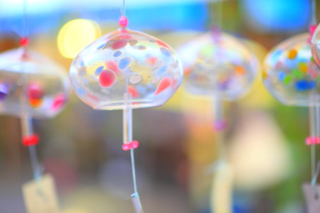 wind chimes: Colorful Glass wind chimes Stock Photo
