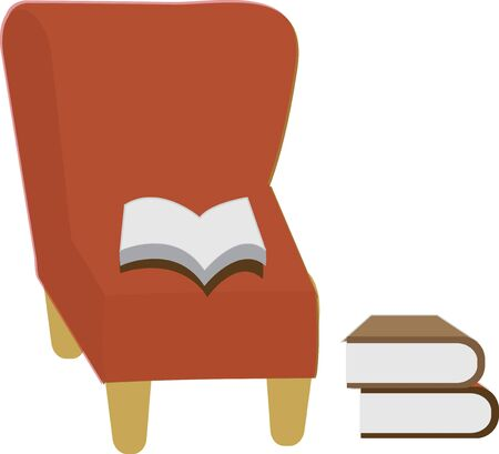 red couch: Chair and book