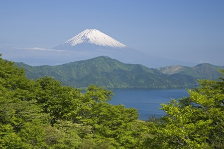 lingering: Mt. Fuji and ashinoko-Lake Stock Photo