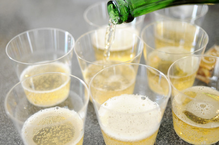 sparkling wine: Sparkling wine and glass Stock Photo