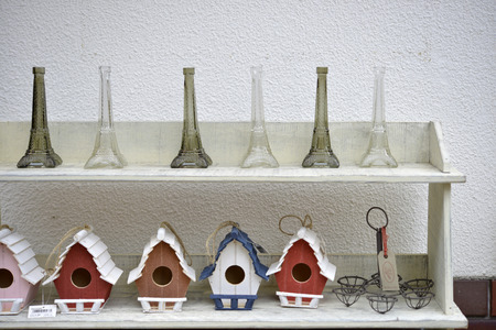 Miscellaneous goods of the Eiffel Tower and the hive Stock Photo