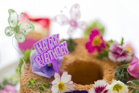 誕生日ケーキの花 写真素材