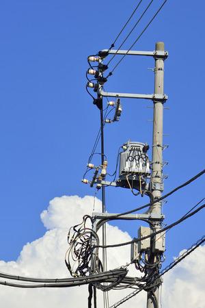 telephone poles: Blue sky and a thunderhead and telephone poles
