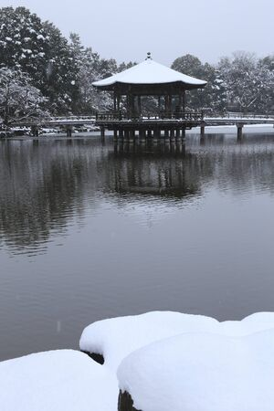 nara park: Snow of Nara Park Ukimido
