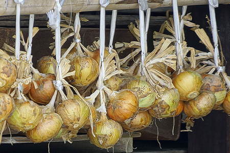 suspend: The hanging was onion to the eaves Stock Photo