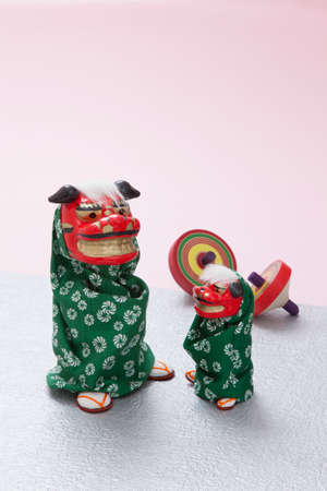 lion dance: Lion Dance doll and coma Stock Photo
