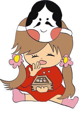 mumps: Girl eating Setsubun beans