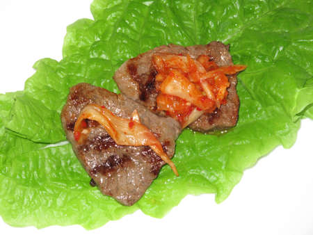 carne alla griglia: Grilled meat and lettuce