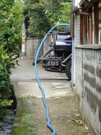 septic tank: Manure Vacuum car Stock Photo