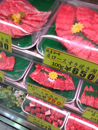 display case: Display case of domestic Wagyu meat