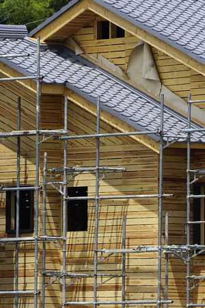 newly: Newly built wooden house building construction site