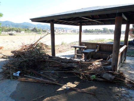 outburst: Kyoto Katsura stormy mountain river flood disaster Stock Photo